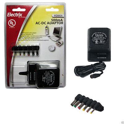 Deluxe Universal AC DC Adapter 12V 9V 7.5V 6V 4.5V 3V Power Charger 500mA
