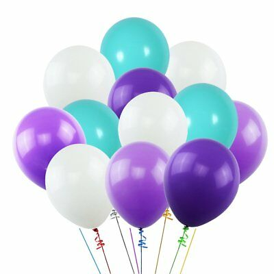 Purple And White Balloons (KUMEED White Purple Dark Purple Sea Foam Blue Assorted Balloons 12