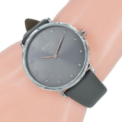Hugo Boss Damen Uhr 1502413 Jillian Anthrazit Grau Leder Armband