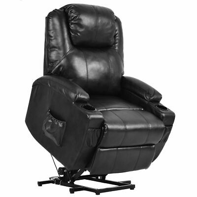 Electric Power Lift Chair Recliner PU Leather Padded Seat w/ Remote & Cup Holder