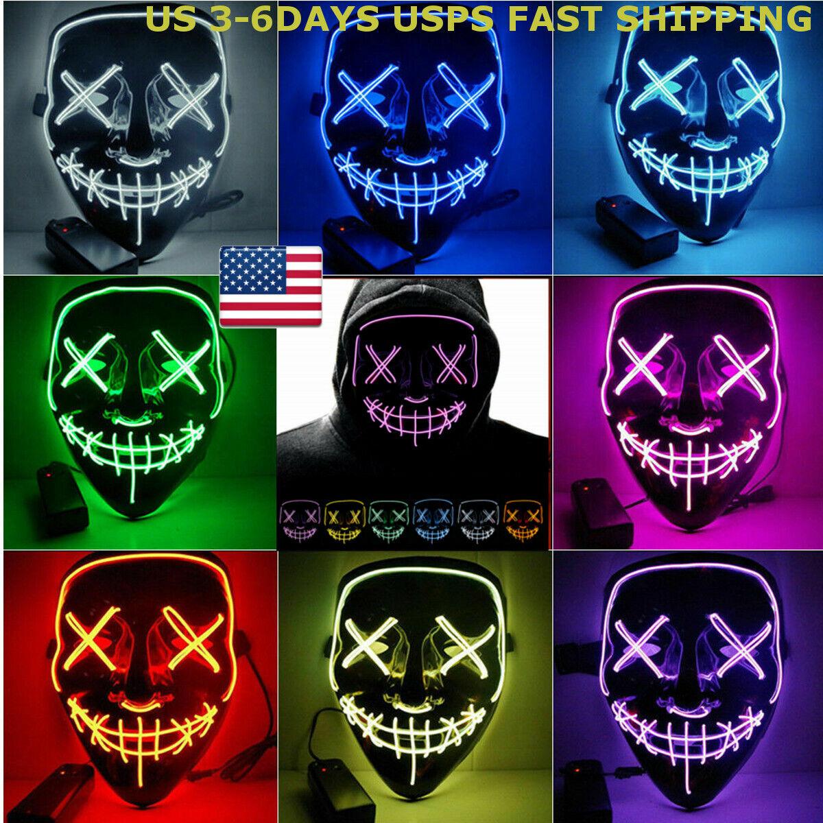 halloween led glow mask 3 modes el
