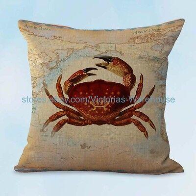 US SELLER, decorating accessories crab seaside beach world map cushion - Seaside Decorating Accessories