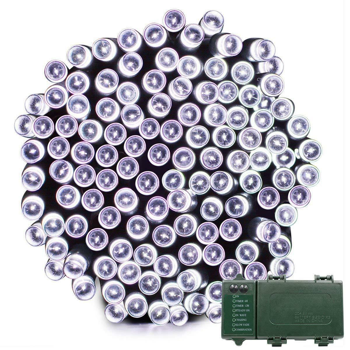 Battery Operated 200 LED String Lights With Timer Wall Decor