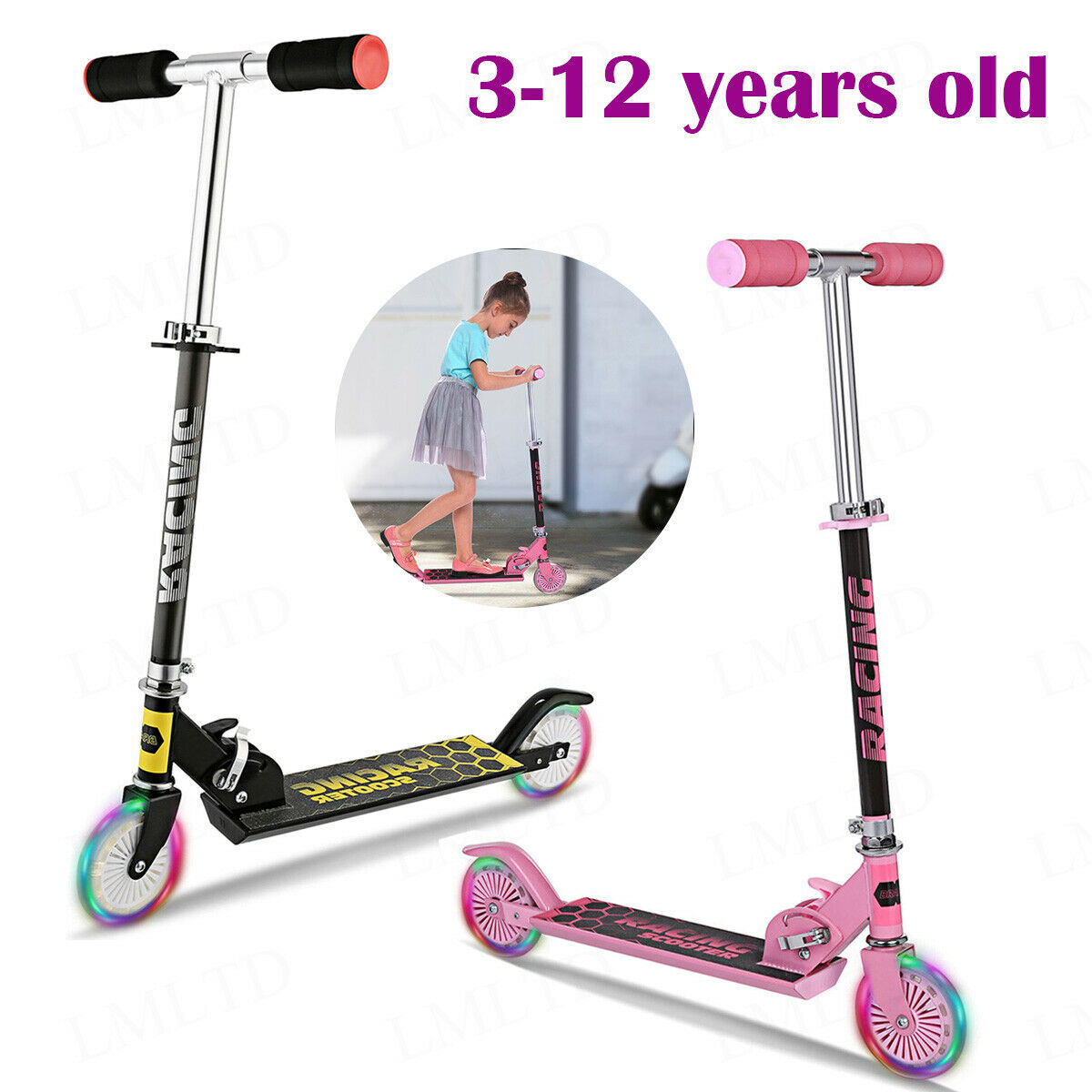 2 Wheels Kids Scooter Adjustable Height Deluxe Kick Scooters