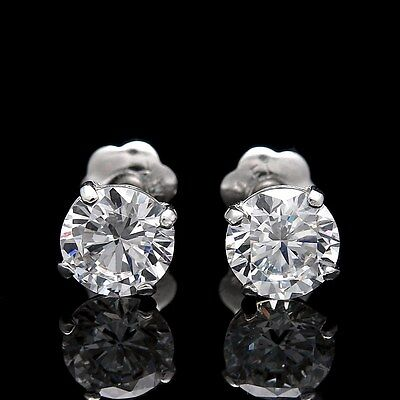 1.50 CT ROUND EARRINGS 14K SOLID WHITE GOLD BASKET STUDS BRILLIANT SCREW-BACK