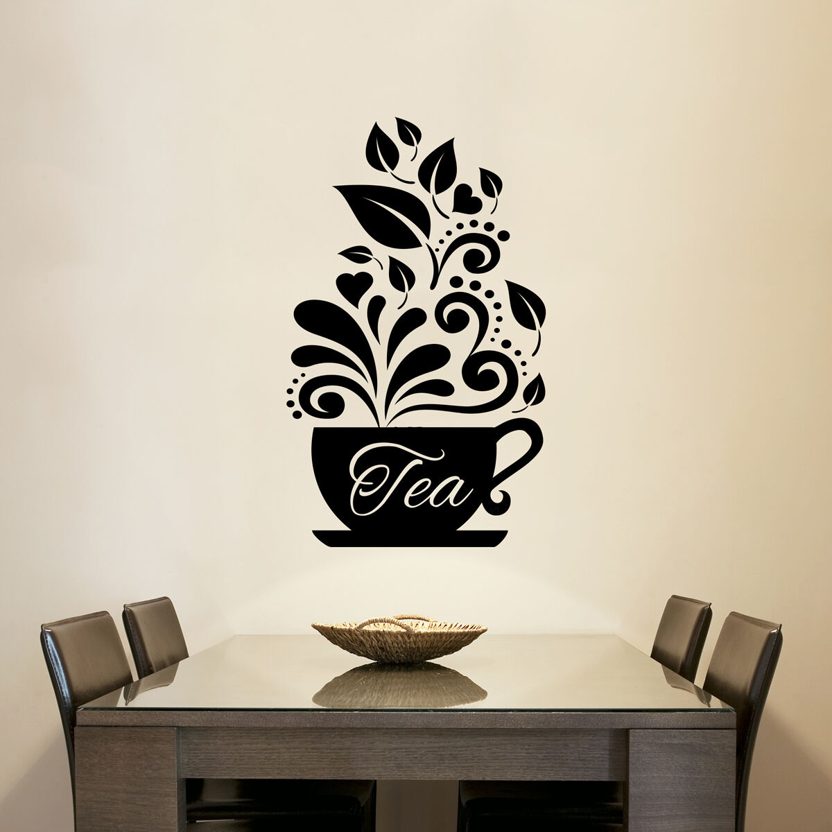 Love tea cups kitchen wall coffee sticker vinyl decal art for Tea and coffee wall art