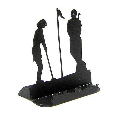 Golf Black Metal Business Card Holder