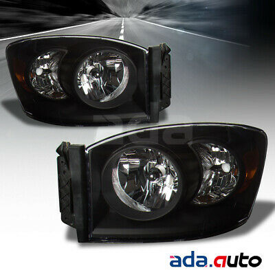 2006-2009 Dodge Ram 1500 2500 3500 Pickup Black Headlights Head Lamps RH+LH Pair