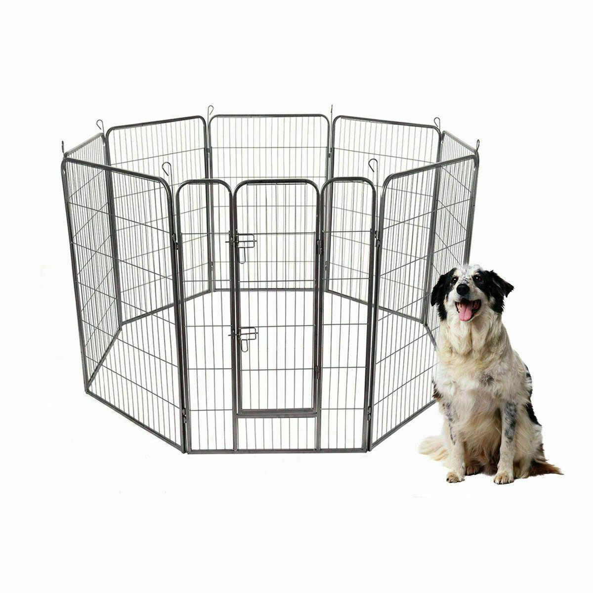 """24""""/32""""/40""""/48"""" 8 Panel Pet Puppy Dog Playpen Door Exercise"""