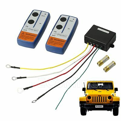12V Wireless Winch Remote Control 50FT Kit For Car Truck Jeep ATV Warn Ramsey US