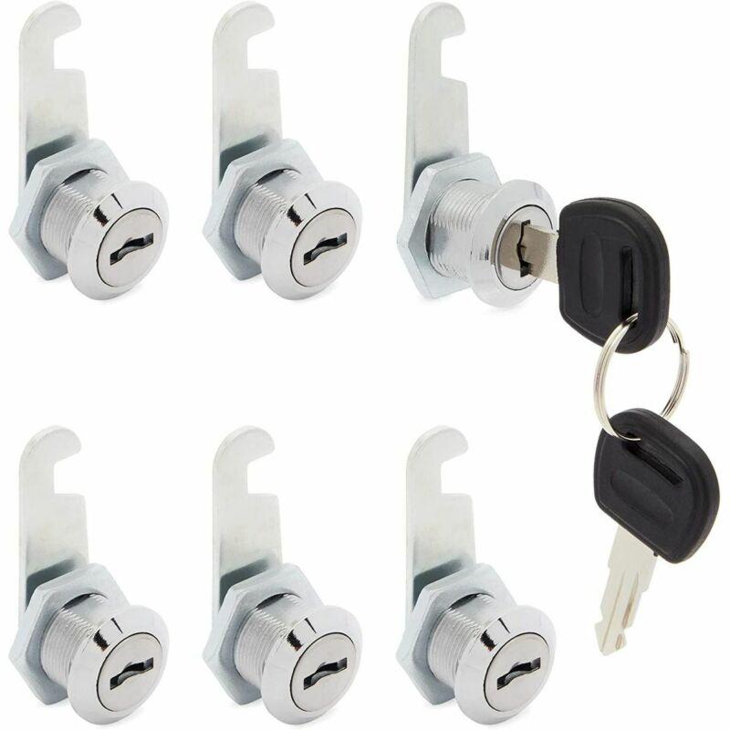 """6 Pack Cabinet Locks with keys File Cabinet Cam Cylinder Lock Drawer 12/19"""" 16mm"""