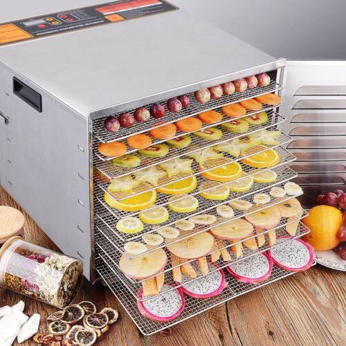 Home Kitchen 10 Trays Stainless Steel Food Dehydrator Fruit