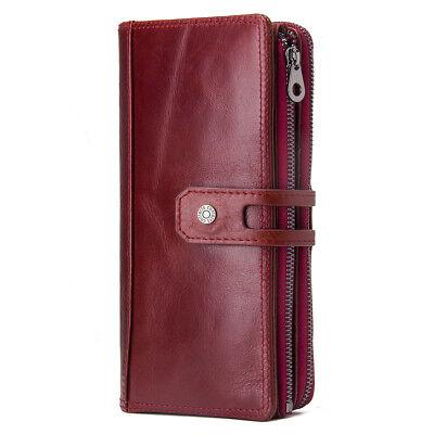 Women Genuine Leather Long Wallet RFID Money Card Holder Clutch Purse Handbag Money Long Wallet