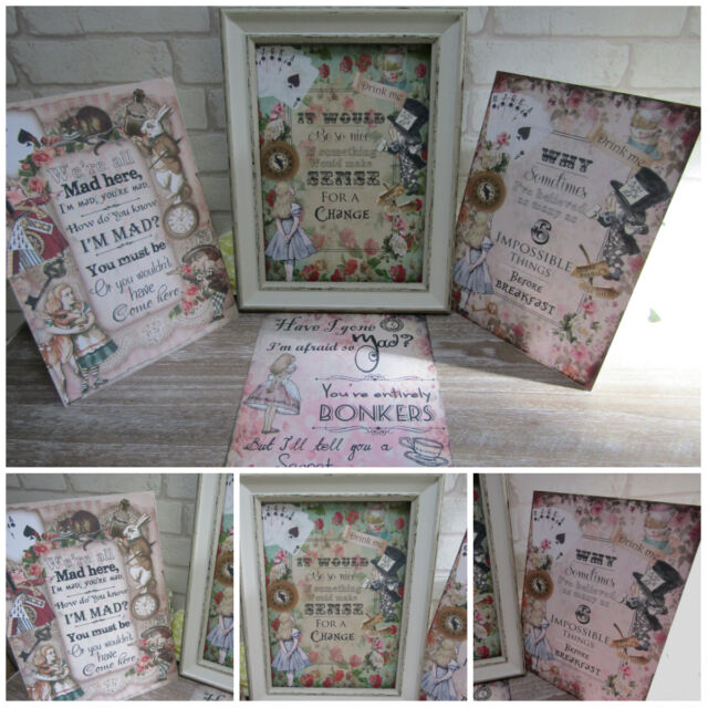 SPECIAL OFFER! 4 A4 Vintage  Alice in Wonderland Quote Prints Gifts,Home,Decor