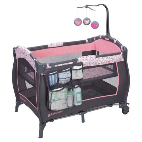 Baby Pack Play Playard Pink Grey Bassinet Infant Portable Crib Diaper Organizer