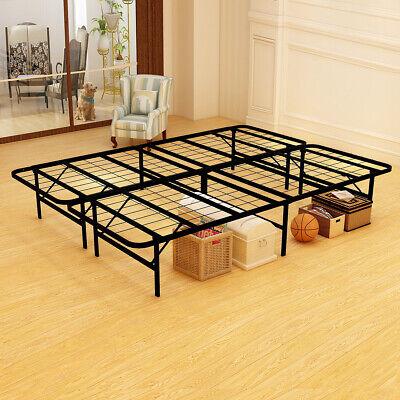 18 inch Foldable Bed Frame Metal Platform Base Box Spring Replacement Steel Slat Metal Folding Bed