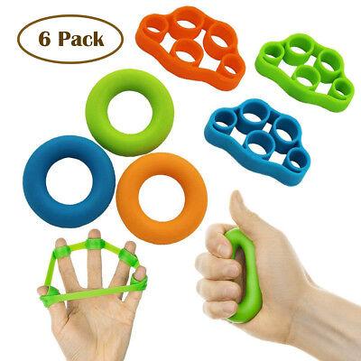 6 Pack Hand Resistance Bands Finger Stretcher Finger Grip Strengthener Strength