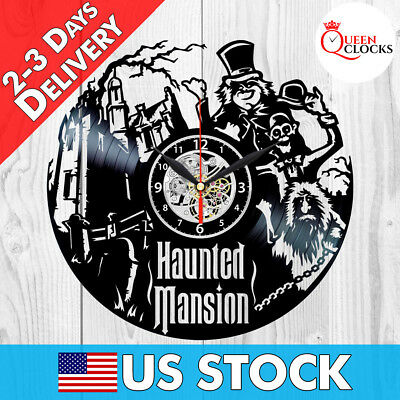 The Haunted Mansion Disney Vinyl Record Wall Clock Disneyland Decor Best