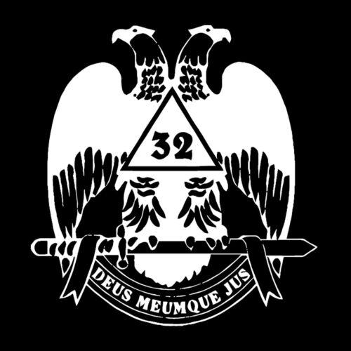 32nd Degree Deus Meumque Jus Scottish Rite Masonic Vinyl Decal - White 6 Inch