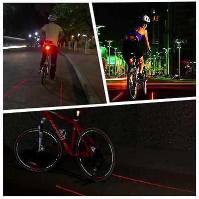 8 LED+ 2 Laser Cycling Bicycle Bike Rear Tail Safety Warning Flashing Lamp Light