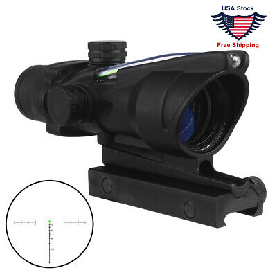 Hunting Rifle Scope ACOG 4X32 Optics Sight Tactical Reticle Real Red Green Fiber