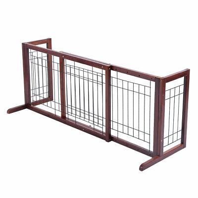 Wood Pet Pen - Wood Dog Gate Adjustable Indoor Solid Construction Pet Fence Playpen Free Stand