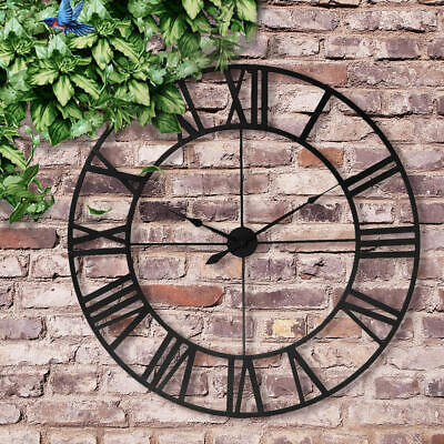 "Large Outdoor Garden Wall Clock Antique Roman Numeral Round Open Face 16"" / 23"""