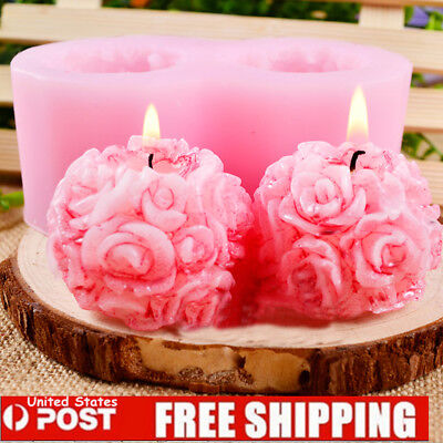 Flexible 3D Rose Flower Ball Soft Silicone Soap Candle Making DIY Molds Mould US