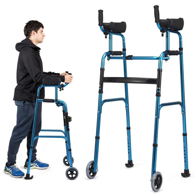 Folding Wheel Walking Frame Adjustable Aluminum Alloy Walker W/Armrest Support