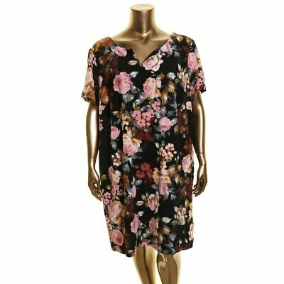 CONNECTED APPAREL NEW Women's Plus Size Floral-print Crepe Shift Dress TEDO
