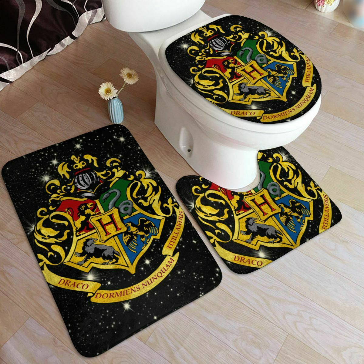 S 3 Harry Potter Anti Slip Bath Mat Pedestal Rug Toilet Seat Cover Kids Bathroom Ebay