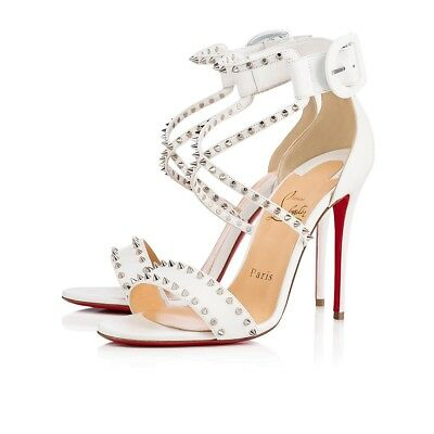NIB Christian Louboutin Choca Spikes 100 White Criss Cross Strap Heel Pump 40.5