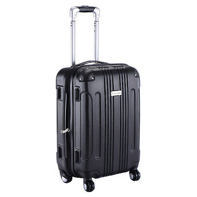"GLOBALWAY Expandable 20"" ABS Carry On Luggage Travel Bag Trolley Suitcase Black"