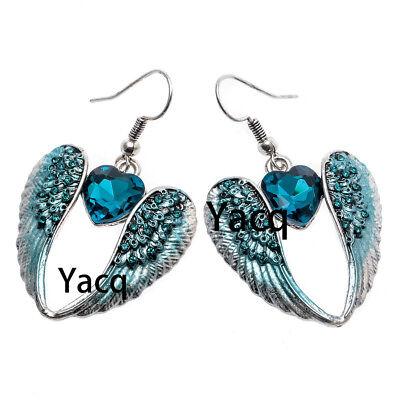 Guardian Angel wing Heart dangle earrings women biker jewelry gifts silver EC06](Angel Wing Earrings)