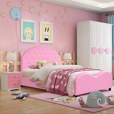Kids Children PU Upholstered Platform Wooden Princess Bed Bedroom Furniture (Bedroom Furniture Wooden Platform Beds)