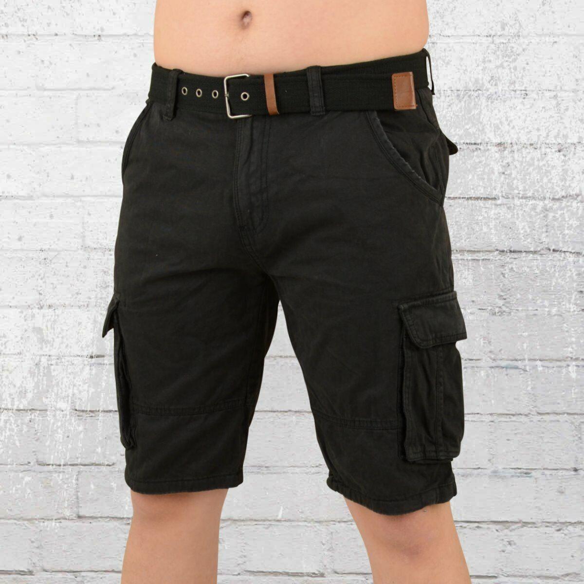Indicode Männer Cargo Shorts Monroe schwarz kurze Hose mit Seitentaschen