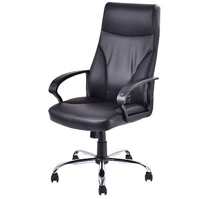 Pu Leather High Back Office Chair Executive Computer Desk Task Modern Black New