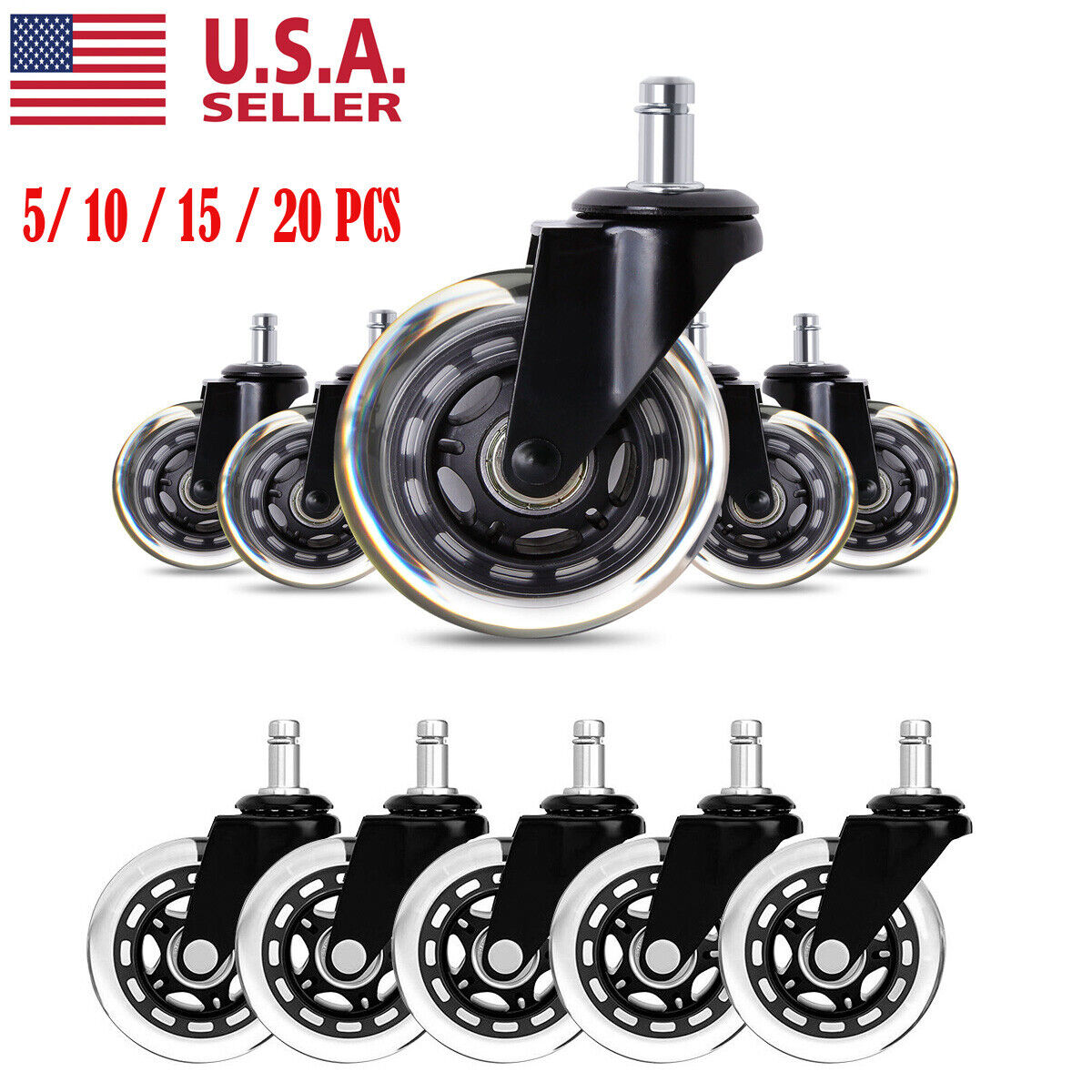 5/20PCS Office Chair Caster Rubber Swivel Wheels Replacement