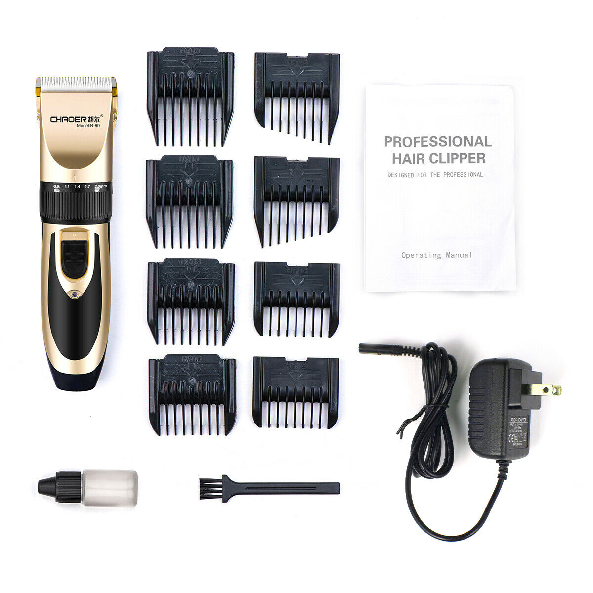 Rechargeable Men Hair Clippers Professional Cordless Trimmers Barber Haircut kit 6