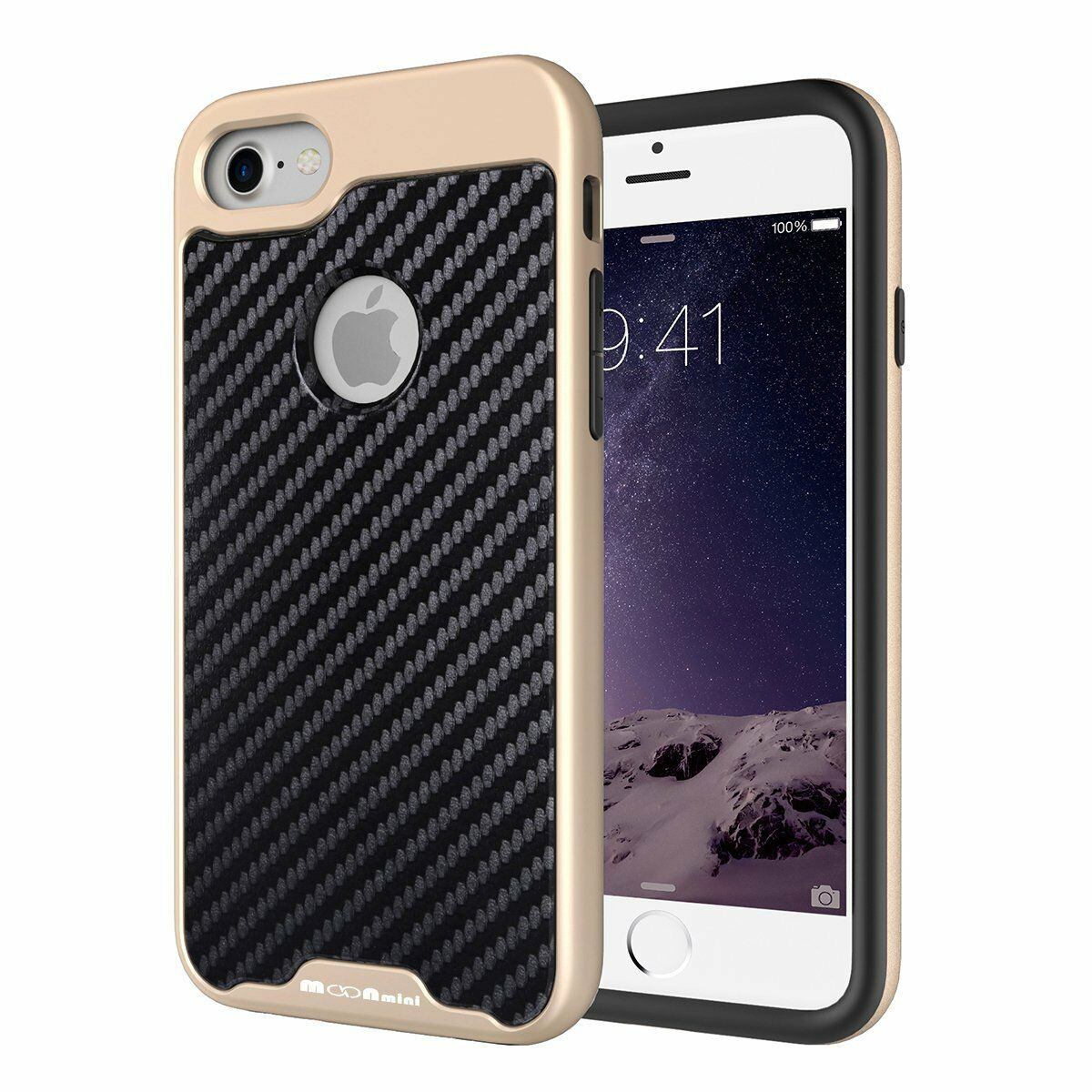 iPhone 7 Case Moonmini PU Leather Carbon Fiber Luxury Shockp