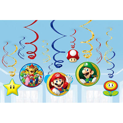 Super Mario Swirl Decoration Birthday Party Supplies Dangler Pack of 12](Mario Birthday Party Supplies)