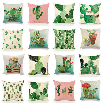 Art Green Cactus Cushion Cover Tropical Plants Sofa Pillow Cover Home Decorative ()