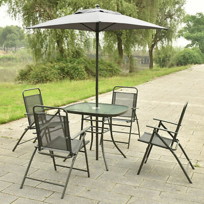Garden Furniture - 6Pcs Patio Garden Set Furniture 4 Folding Chairs Table with Umbrella Gray New