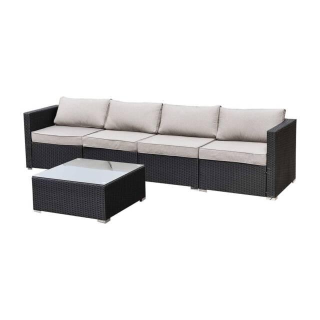 Bali 4 Seater Outdoor Sofa Modular 5 Piece Set Rattan ...