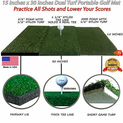 "15"" x 30"" Portable Tri Turf Mat Golf Chipping Mats Driving Range Practice Mat"