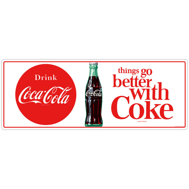 Drink Coca-Cola Better With Coke 1960s Wall Decal 24 x 9 Kitchen Decor Vintage