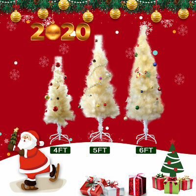4/5/6ft Artificial Pencil Christmas Tree w/ Stand Home Holiday Decor Champagne