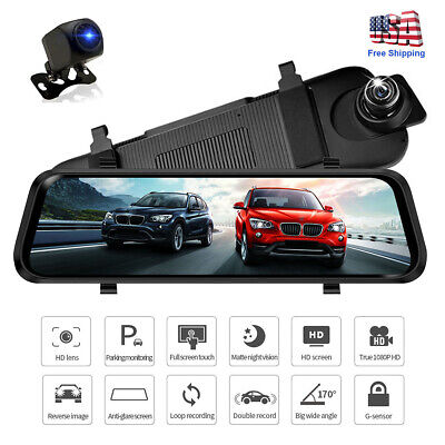 10'' 1080P Touch Screen Car DVR Dual Lens Rearview Mirror Dash Cam Stream
