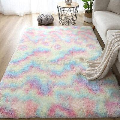 63x90in Shaggy Area Rugs Fluffy Tie-Dye Floor Carpet Soft Room Rainbow Color Rug