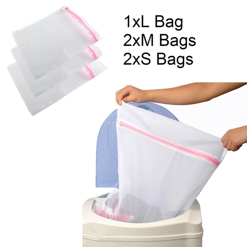 5 Zipped Wash Bag Net Laundry Washing Mesh Lingerie Underwear Bra Clothes Socks